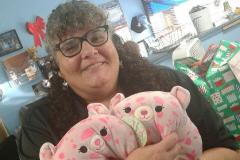 Marisa Gardiner holding donated toys