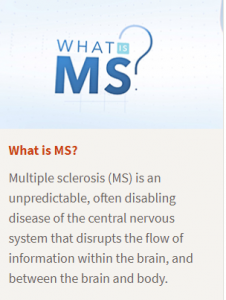 Visual definition of MS, an unpredictable, often disabling disease of the central nervous system